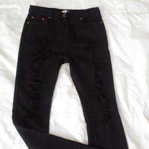 Tobi Mateo Black Distressed Skinny Jeans